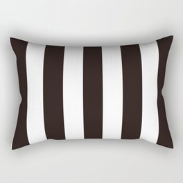 Licorice black - solid color - white vertical lines pattern Rectangular Pillow