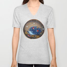 Magical Autumn Hedgehog With Forest Treasures Unisex V-Neck