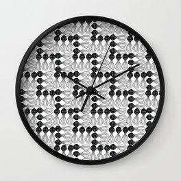Black pear curvy funny shaped lines pattern Wall Clock