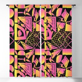Sunset Surf Shapes in Black Blackout Curtain