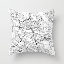Stockholm Map White Throw Pillow