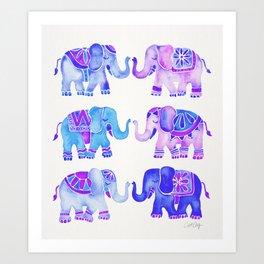Elephant Collection – Indigo Palette Art Print