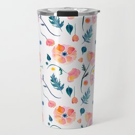 Watercolor poppies and leaves  - pink and orange pattern Travel Mug