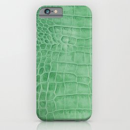 Croco leather effect - green iPhone Case