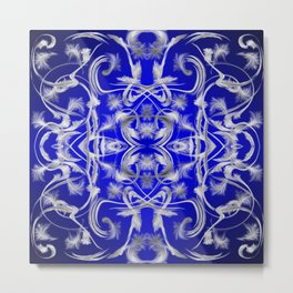 silver and blue Digital pattern with circles and fractals artfully colored design for house Metal Print