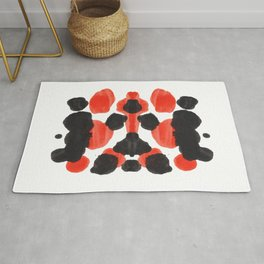 Red Orange & Black Ink Blot Diagram Rug