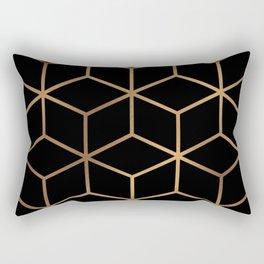 Black and Gold - Geometric Cube Design Rectangular Pillow