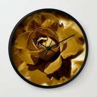 rose gold Wall Clocks featuring Gold Rose by SoCoArt