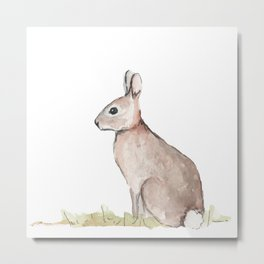 Rabbit Watercolor Metal Print