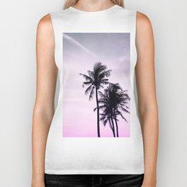 Palms on the Beach - Ultra violet, pink, purple and black Biker Tank