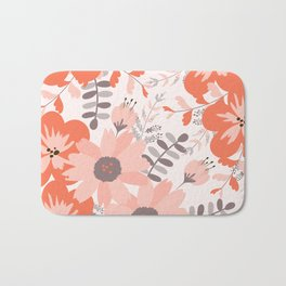 Big Flowers in Pink and Coral Red Bath Mat