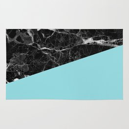Black Marble and Island Paradise Color Rug