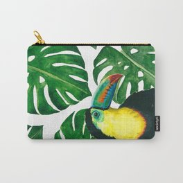 Toucan parrot with monstera leaf pattern Carry-All Pouch