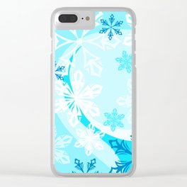 Blue Flower Art Winter Holiday Clear iPhone Case