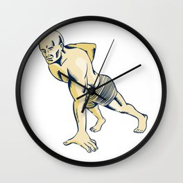 High Intensity Interval Training Push-up Etching Wall Clock