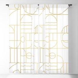 Minimalist Mid Century Modern Gold Pattern Blackout Curtain
