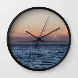 Channel Island vista on a very clear winter day at sunset Wall Clock