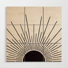 Sun #5 Black Wood Wall Art