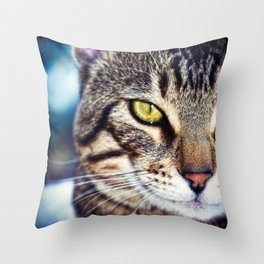 Bengal Tom Tabby Cat Portrait Throw Pillow