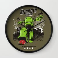 android Wall Clocks featuring ANDROID ATTACK by Adams Pinto