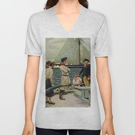 """""""American Privateer Taking British Ship"""" by Howard Pyle Unisex V-Neck"""