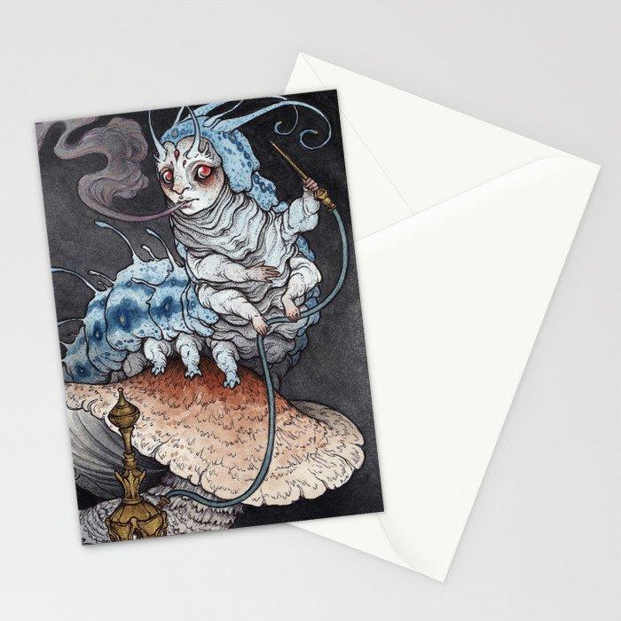 Absolem the Blue Caterpillar art print Stationery Cards