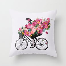 floral bicycle  Throw Pillow