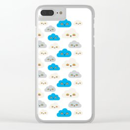 Rainbow Power Clouds Clear iPhone Case