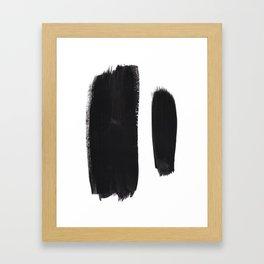 Black And White Minimalist Mid Century Abstract Ink Art Minimal Brush Strokes Black Color Block Framed Art Print
