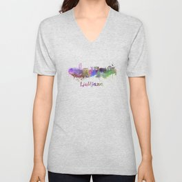 Ljubljana skyline in watercolor Unisex V-Neck