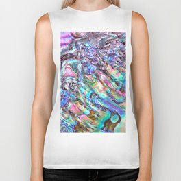 Shimmery Rainbow Abalone Mother of Pearl Biker Tank
