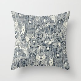 canadian animals indigo pearl Throw Pillow