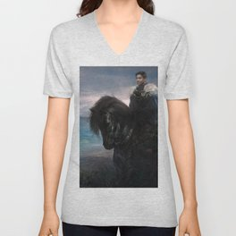 Knight on black Friesian horse Unisex V-Neck