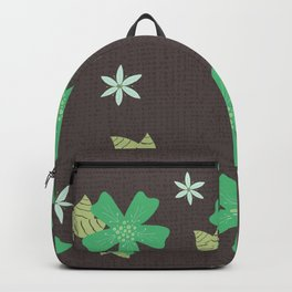 Green Wandering Flowers Illustrated Floral Pattern Backpack