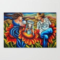 Coffee on flowers Canvas Print