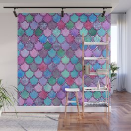 Colorful Pink Glitter Mermaid Scales Wall Mural