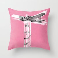 bombs away Throw Pillows featuring Bombs Away! by victor calahan