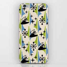 Mid Century Modern Cosmic Boomerang 726 Black Blue and Green iPhone Skin