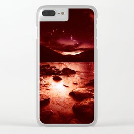Magical Mountain Lake Red Planet Clear iPhone Case