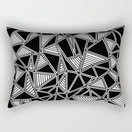 Abstract Outline Lines Black Rectangular Pillow