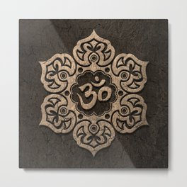 Aged Stone Lotus Flower Yoga Om Metal Print