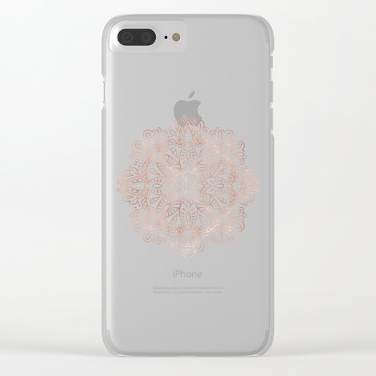 Mandala Rose Gold Pink Shimmer on Light Cream Clear iPhone Case