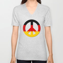 Black Red Yellow German Flag CND Peace Symbol Unisex V-Neck