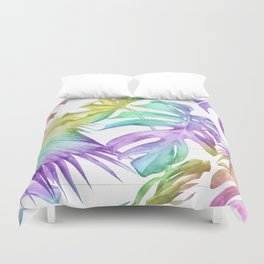 Tropical Rainbow Palm Leaves on Wood Duvet Cover