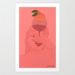 Girl & Orange in Glass Art Print