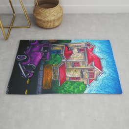 Old house and classic car in Wellington New Zealand - No 2 - Oil pastels Rug