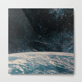 Earth and galaxy. Night Sky Space Metal Print