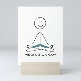 Funny Mens Meditation, Mindfulness Gifts, Meditation Guy Mini Art Print