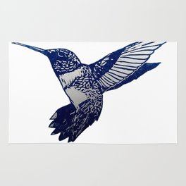 Single Blue print humming bird Rug