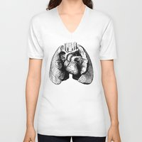 lungs V-neck T-shirts featuring Lungs by Sadiie